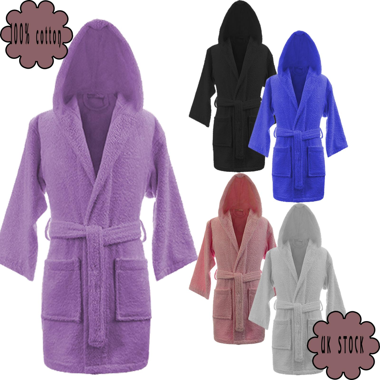 Details about New Kids Dressing Gown Girls Boys Robe Bathrobe Hooded Bath  Soft Warm 100%Cotton 3eaa7bc76