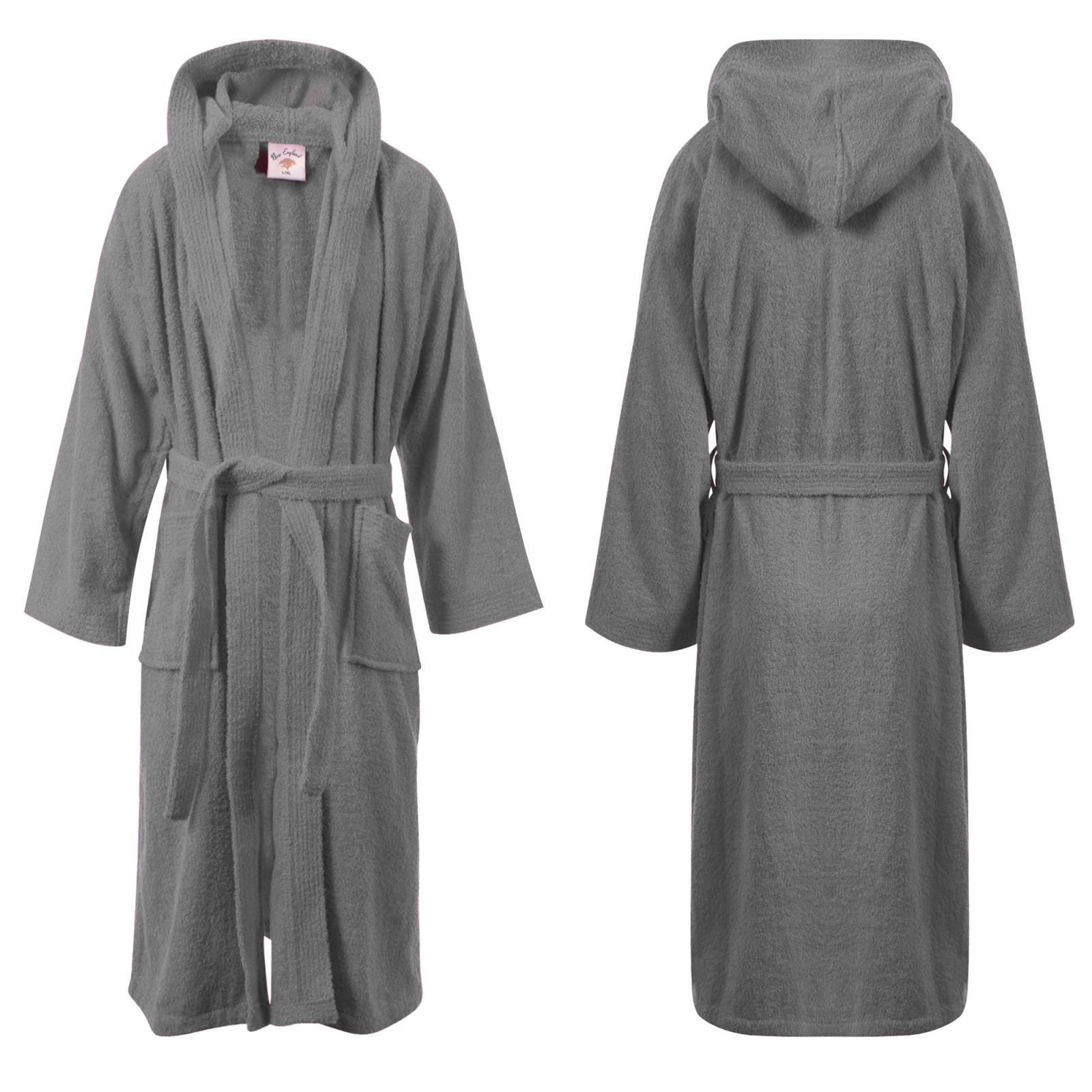 ladies mens womens 100 cotton hooded bath robe terry towelling dressing gown. Black Bedroom Furniture Sets. Home Design Ideas