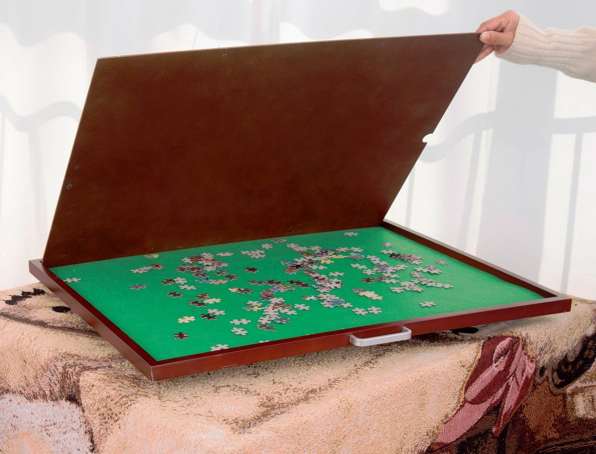 Jigsaw Puzzle Mat Storage Table Wooden Portable Spinning