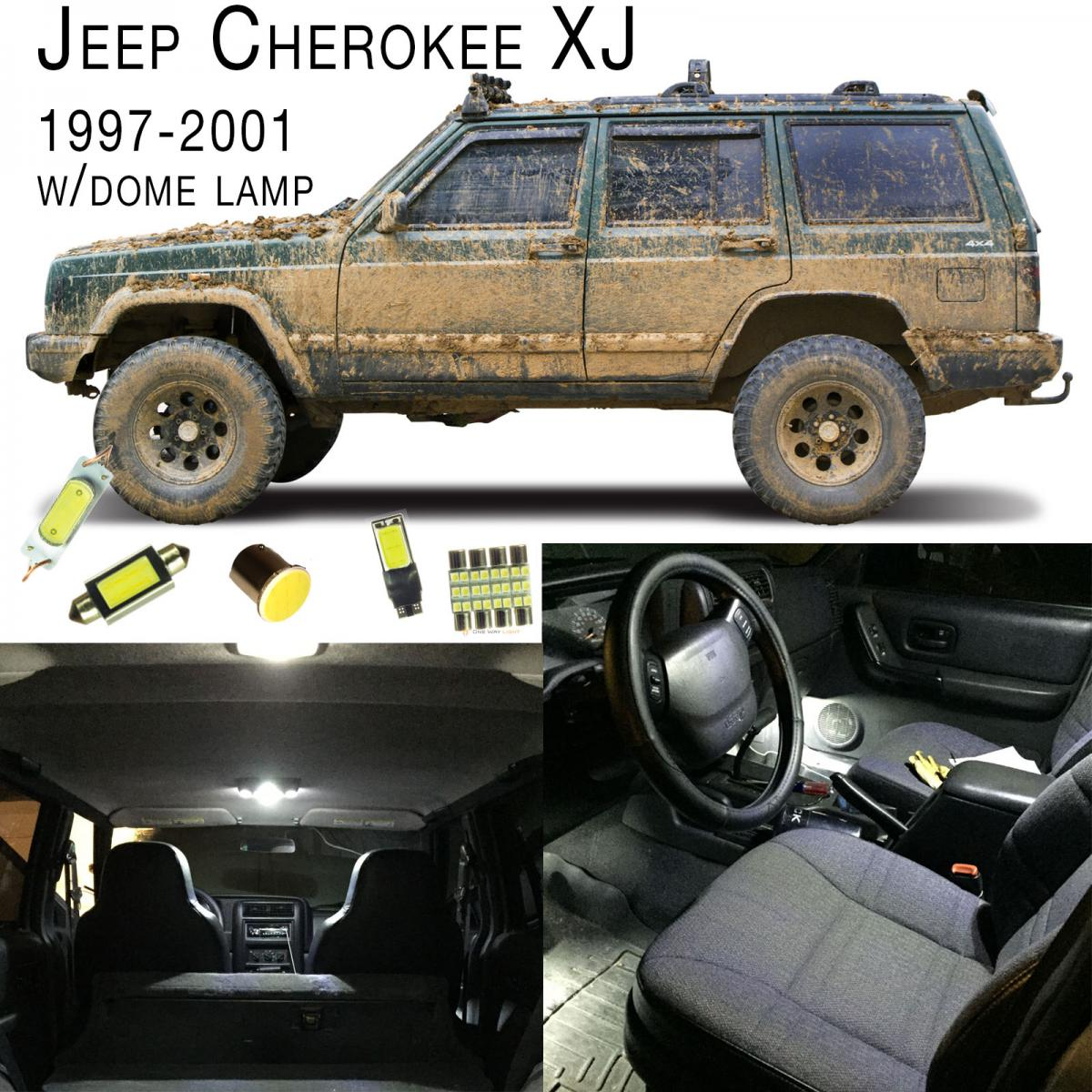 1997 2001 jeep cherokee xj led interior led set white w dome lamp ebay for Jeep cherokee xj interior accessories