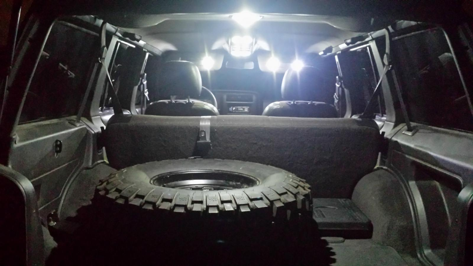 1997 2001 jeep cherokee xj interior led light set white w overhead console ebay for Jeep cherokee xj interior accessories