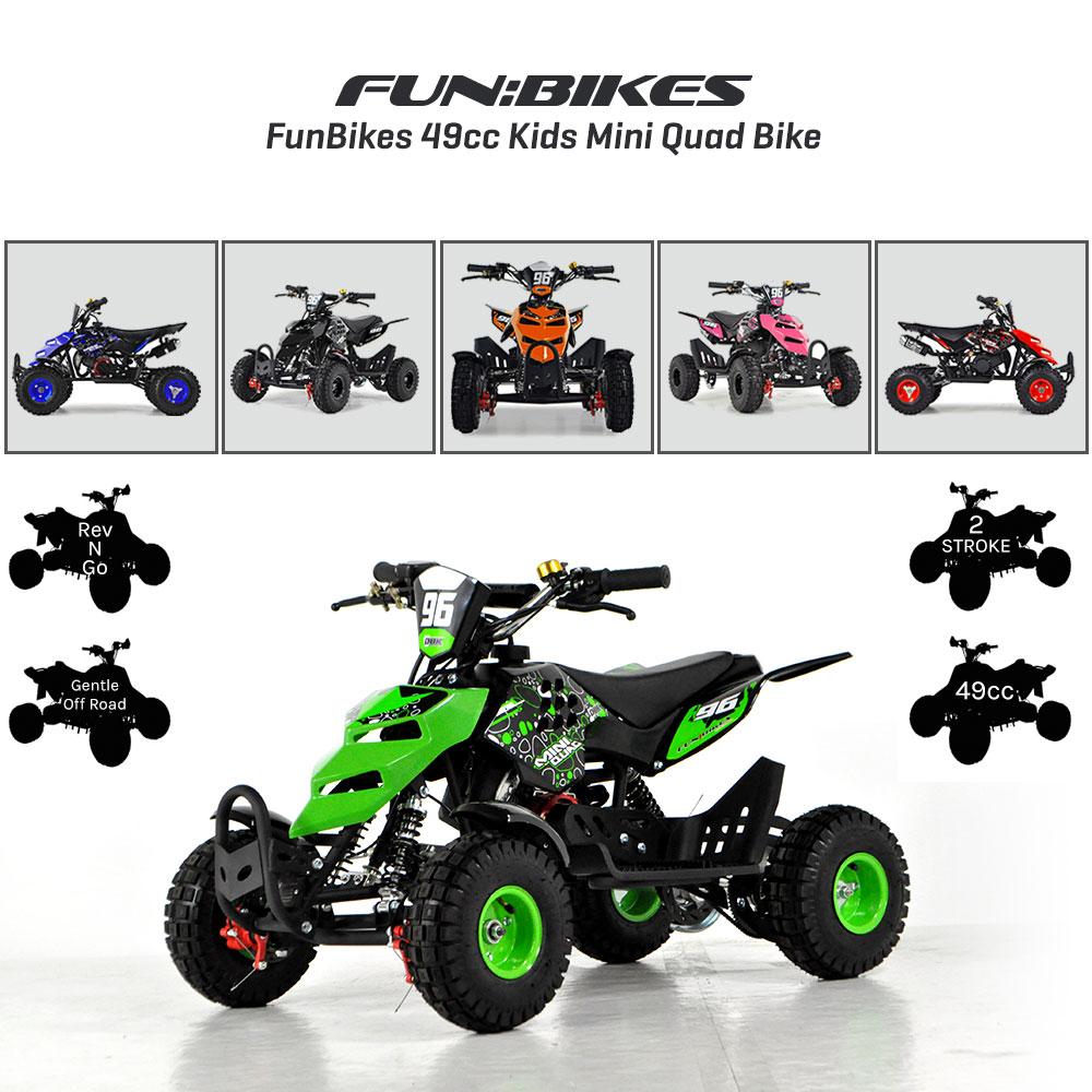 funbikes kids mini quad bike 49cc 50cc petrol quad. Black Bedroom Furniture Sets. Home Design Ideas