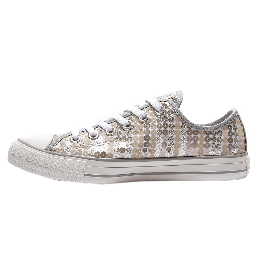 SALE Converse All Star CT OX Sequin Womens White Silver