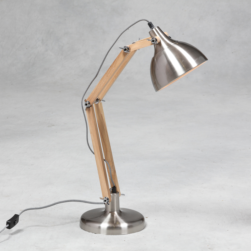 Vintage Brushed Steel Wood Desk Or Table Lamp Silver