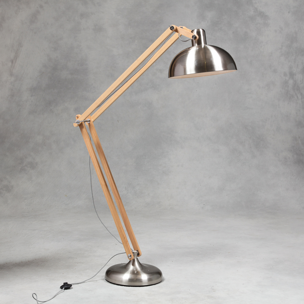 Retro Brushed Steel Wood Floor Lamp Vintage Angle