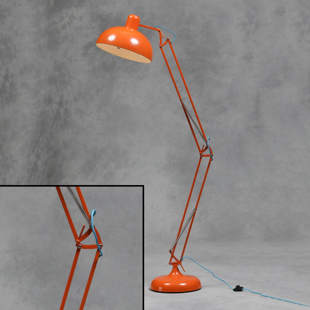 Large retro orange floor lamp vintage angle poise style for Giant retro floor lamp