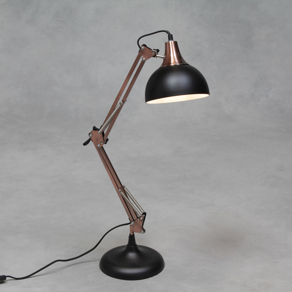 Vintage Copper And Black Desk Table Lamp Retro Iconic
