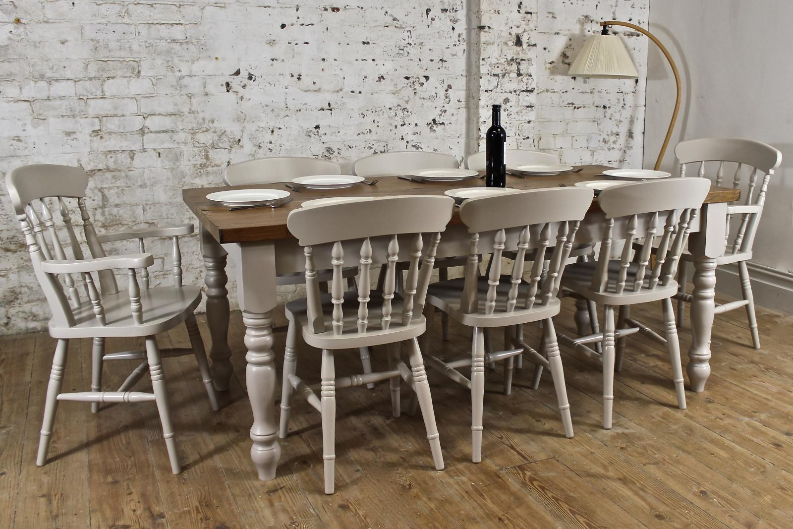 6ft solid oak dining table set chairs farmhouse painted