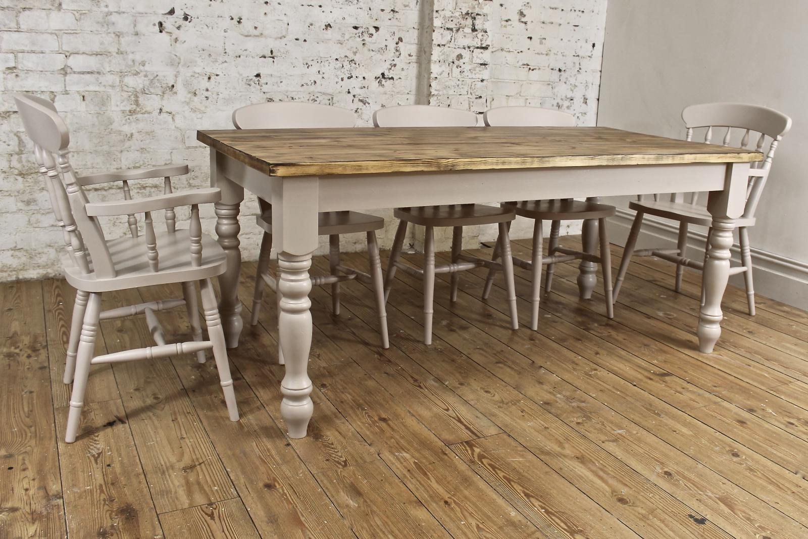 6ft Solid Pine Dining Table Set Chairs Farmhouse Painted