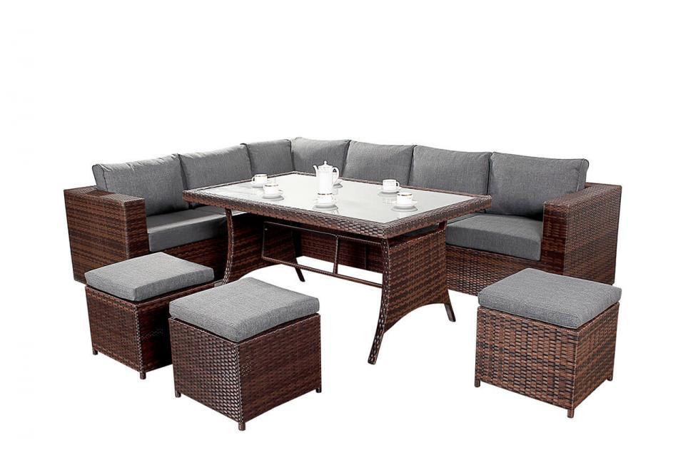 Prestige Rattan Corner Sofa Dining Table Set Black Brown ...