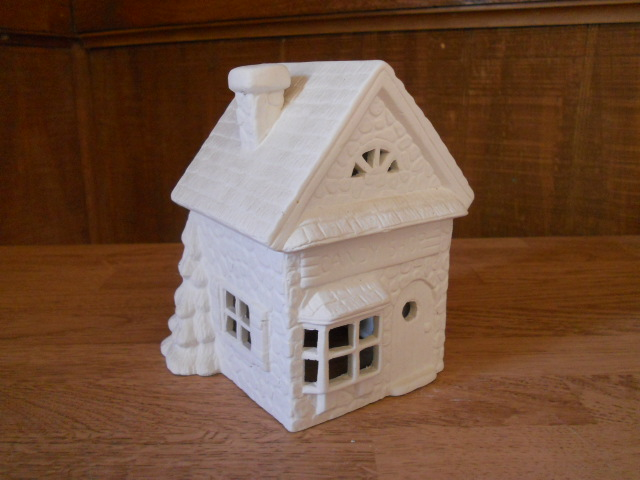 Ceramic bisque ready to paint christmas village house for Ceramic house paint