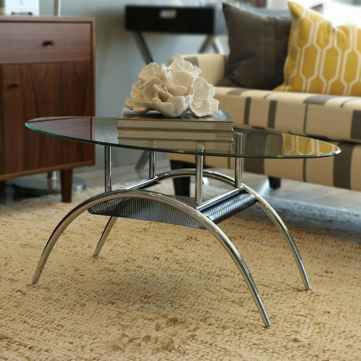 NEW Stylish Oval Shaped Tempered Safety Glass Coffee Table Chrome