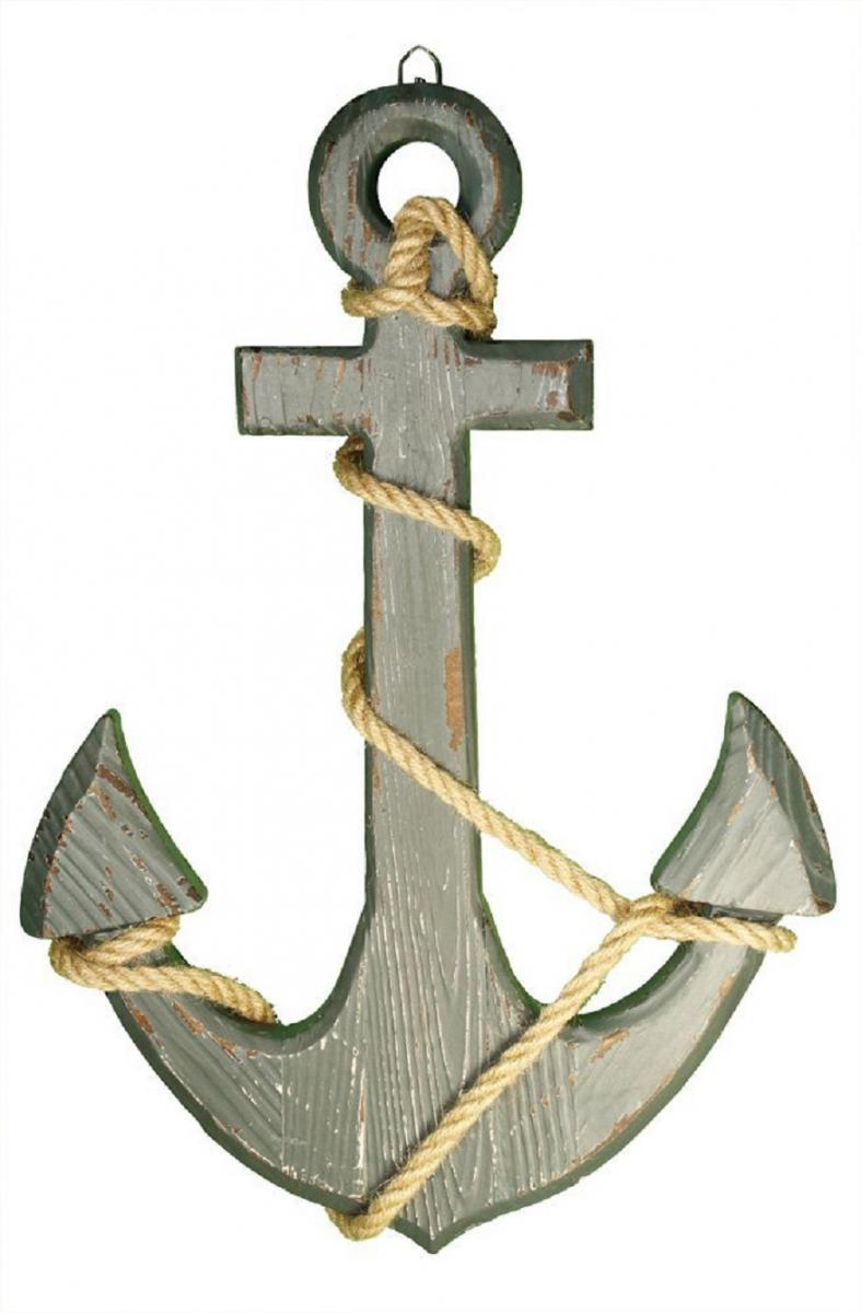 New 18 wood anchor with crossbar boat nautical theme for Anchor decoration