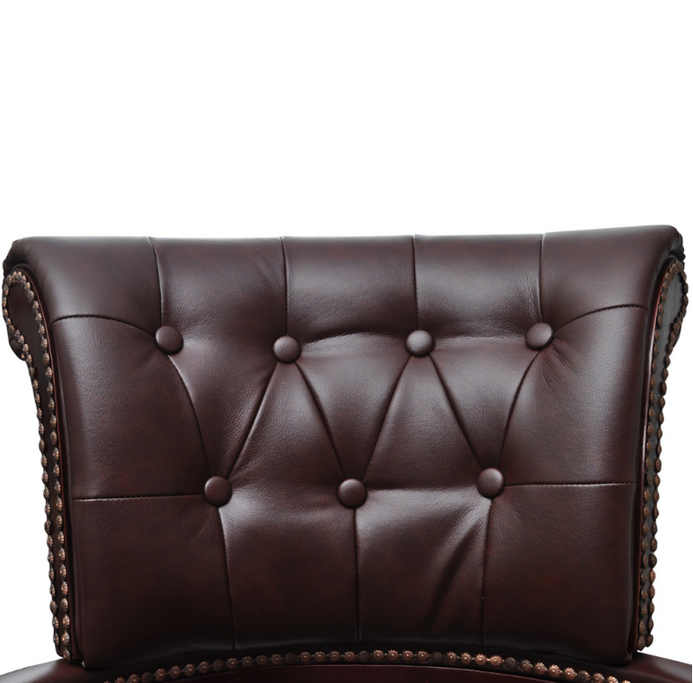 Executive Real Leather Office Swivel Chair Brown Chesterfield Captains Armcha