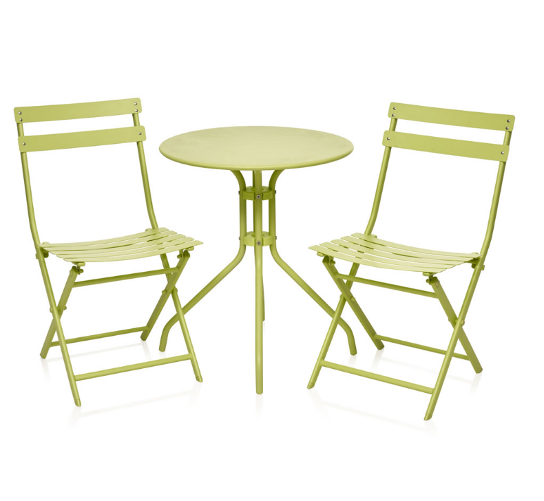 garden folding bistro set table and 2 chairs 3 piece metal furniture