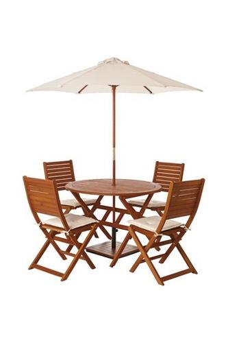 Wooden Folding Chair Set 2 Eucalyptus Wood Garden