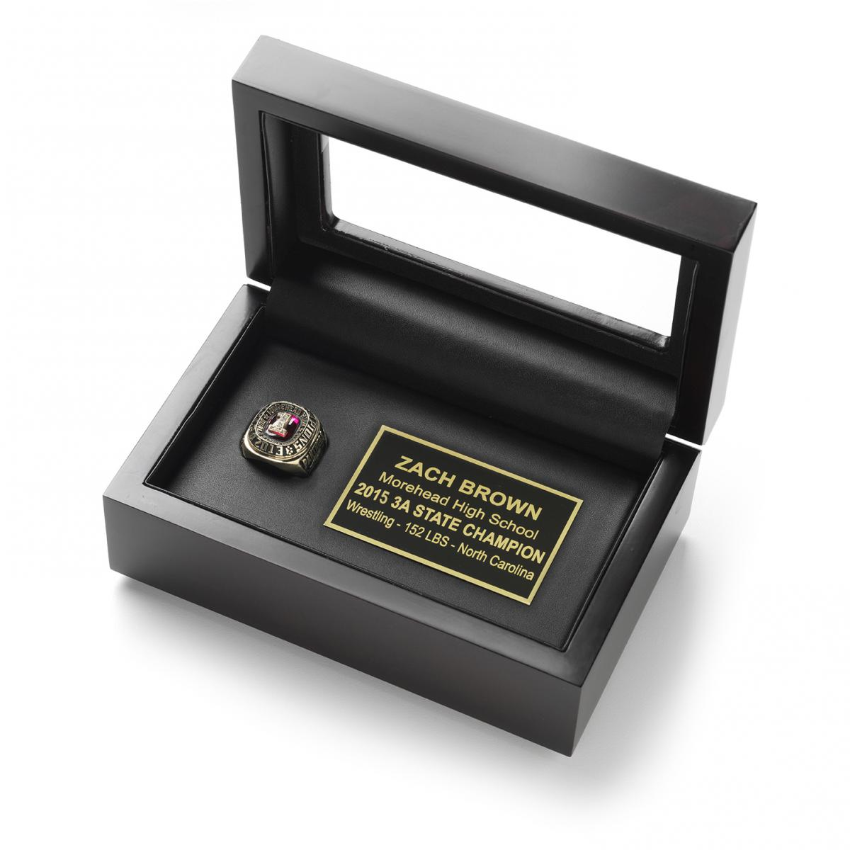 Championship ring display case box for gold ring free for Ring case