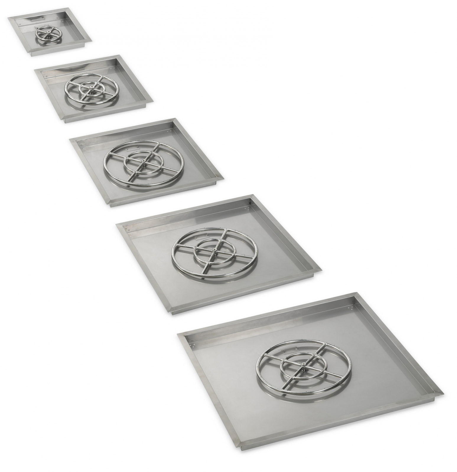 American Fireglass Square Fire Pit Drop In Tray With Spark