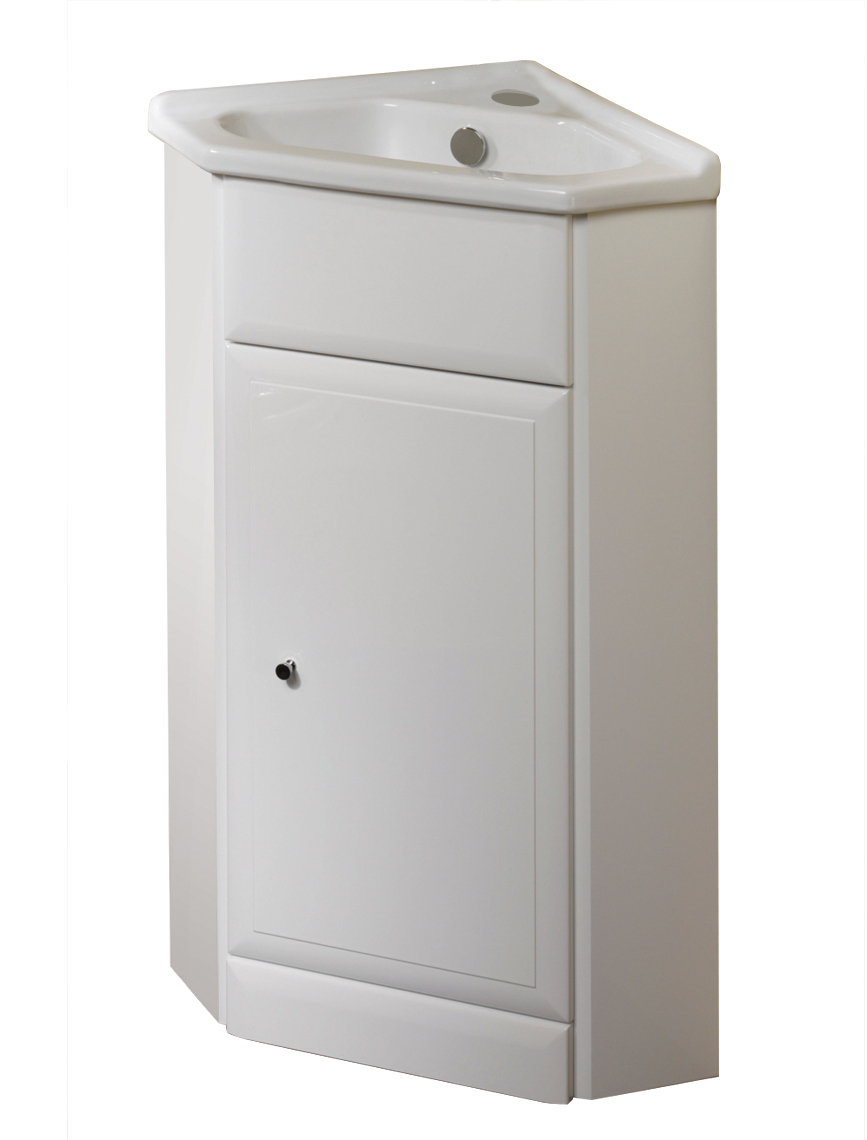 corner bathroom cabinet vanity and sink unit white 57cm
