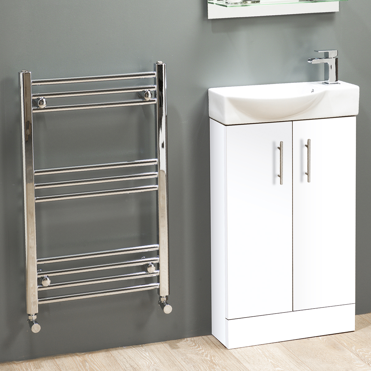 slimline 500 modern compact vanity curved basin sink unit. Black Bedroom Furniture Sets. Home Design Ideas