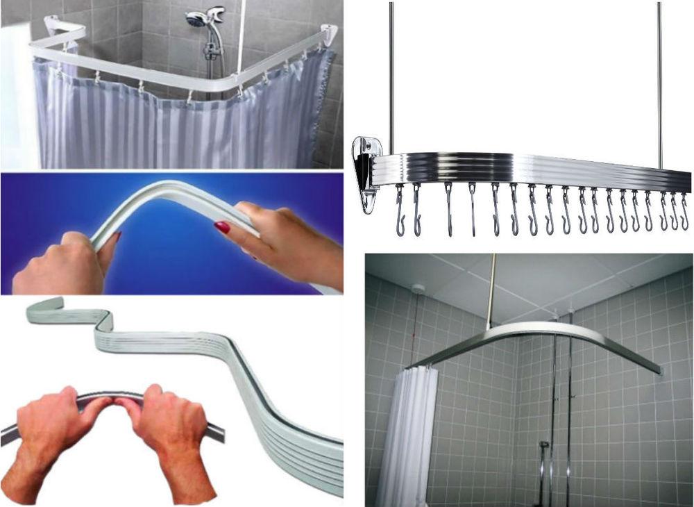 Chrome Alluminium Flexible Shower Curtain Rail Track Pole