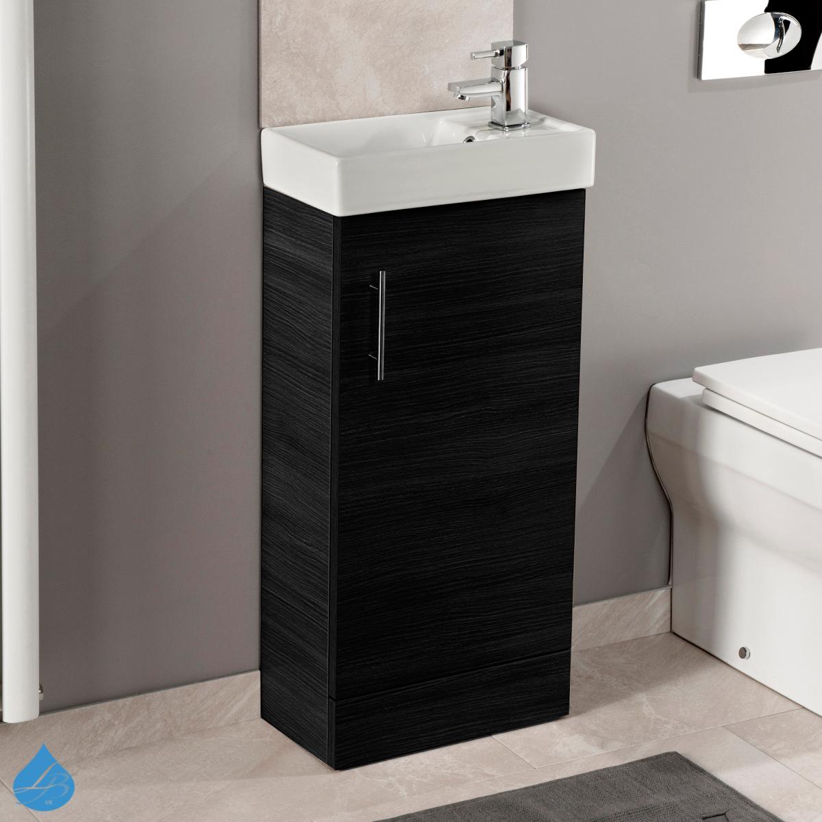 Minimalist Compact 400mm Vanity Unit Basin Bathroom Cloakroom Black Ash Ebay