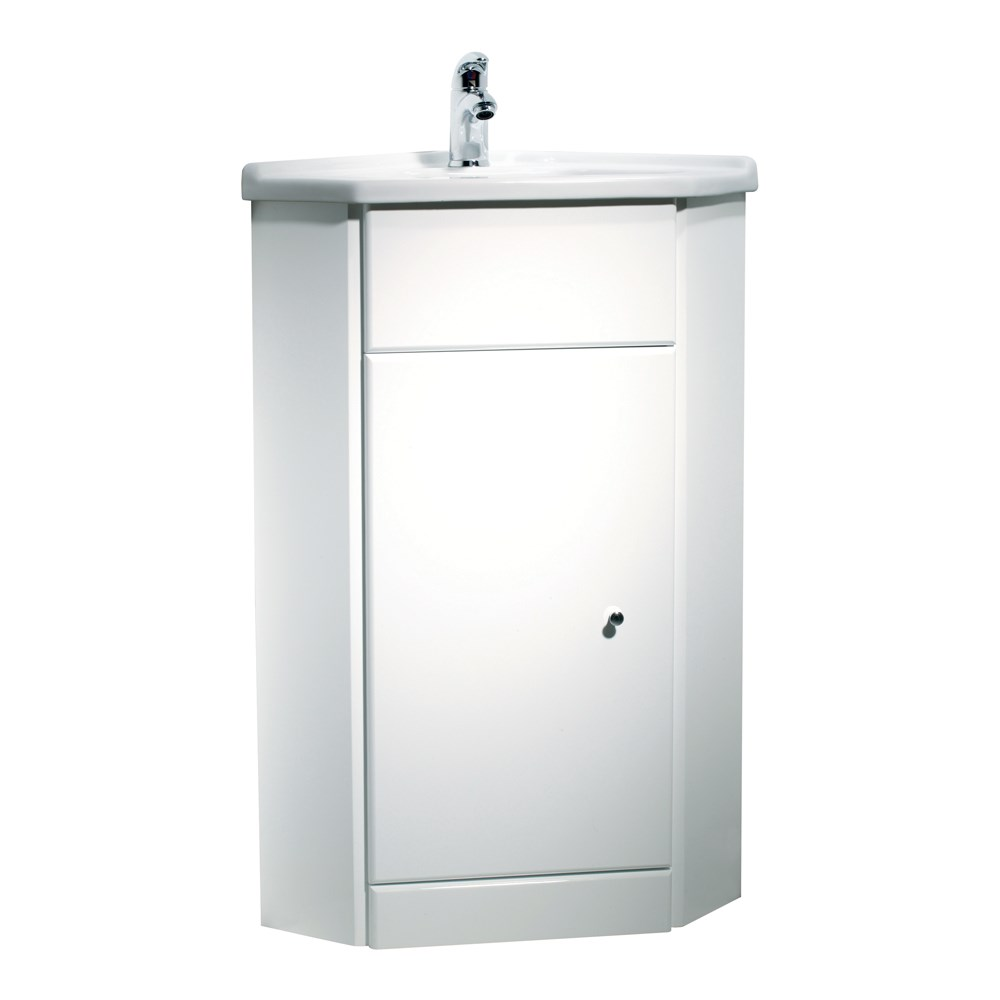 Tavistock Meridian Freestanding Bathroom Corner Basin Cabinet Unit 570mm Whit