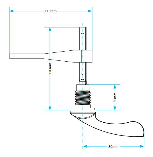 Standard Flush Tank Cistern Metal Lever- Chrome Plated