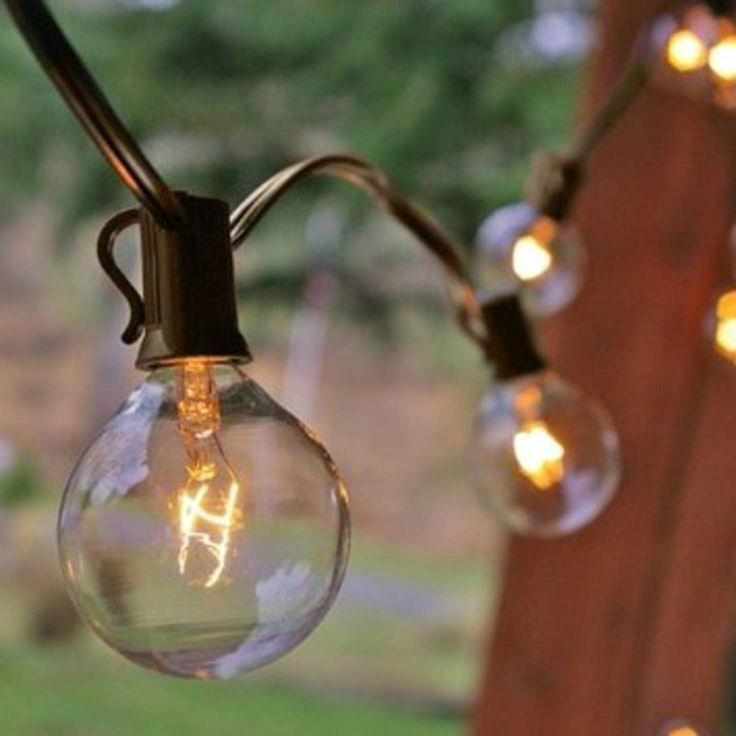 Clear Globe String Lights Set Of 25 G40 Bulbs : Beautiful 25 ft Outdoor String Lighting Globe Patio Set 25 G40 Clear Bulbs 110V eBay