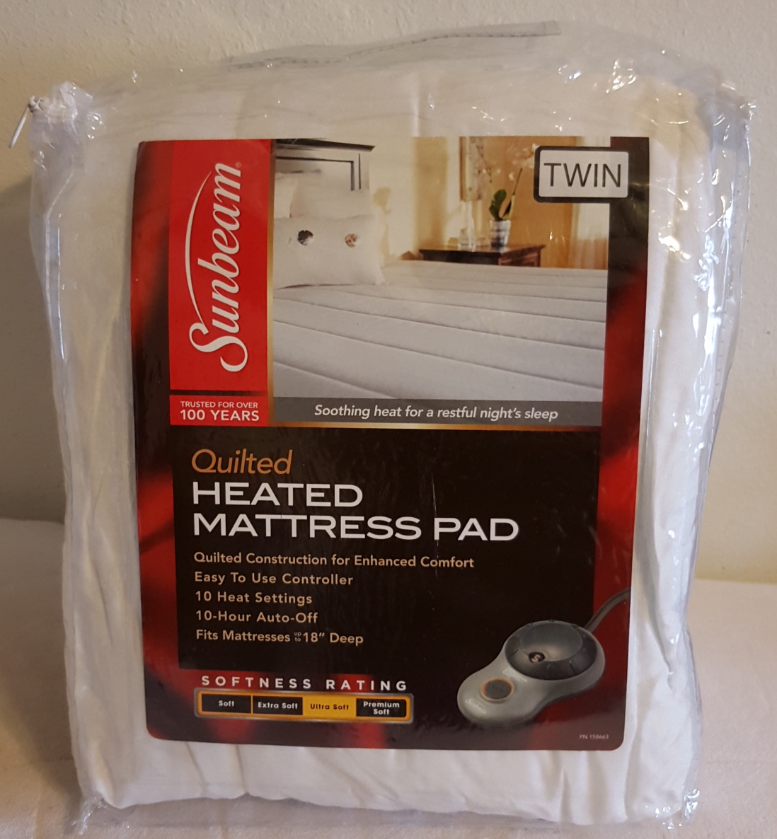 Sunbeam Quilted Polyester Heated Mattress Pad with EasySet