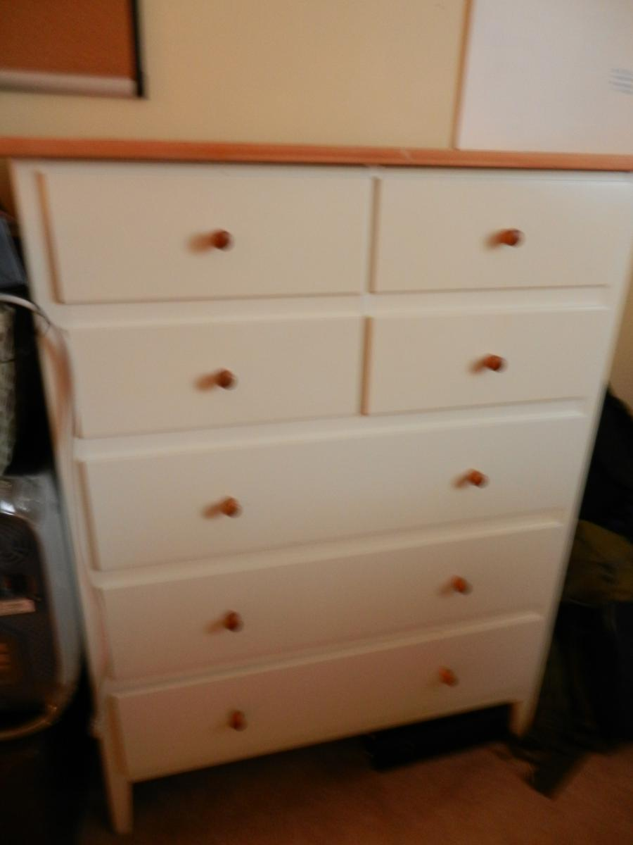 IKEA VISDALEN Chest Of 7 Drawers WHITE Pine Wood Top Excellent EBay