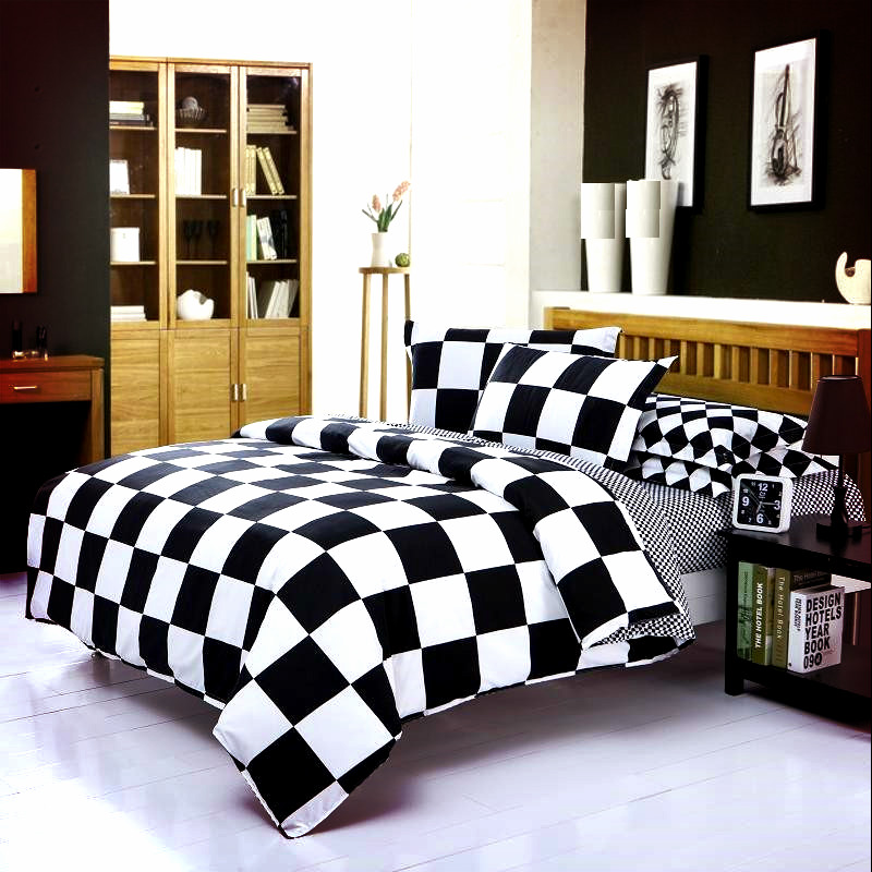 Black & White Striped Bedding Set Duvet Cover King Queen