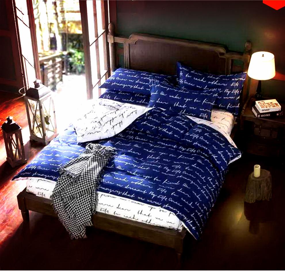 black white and blue geometric print bedding set duvet cover king queen single ebay. Black Bedroom Furniture Sets. Home Design Ideas