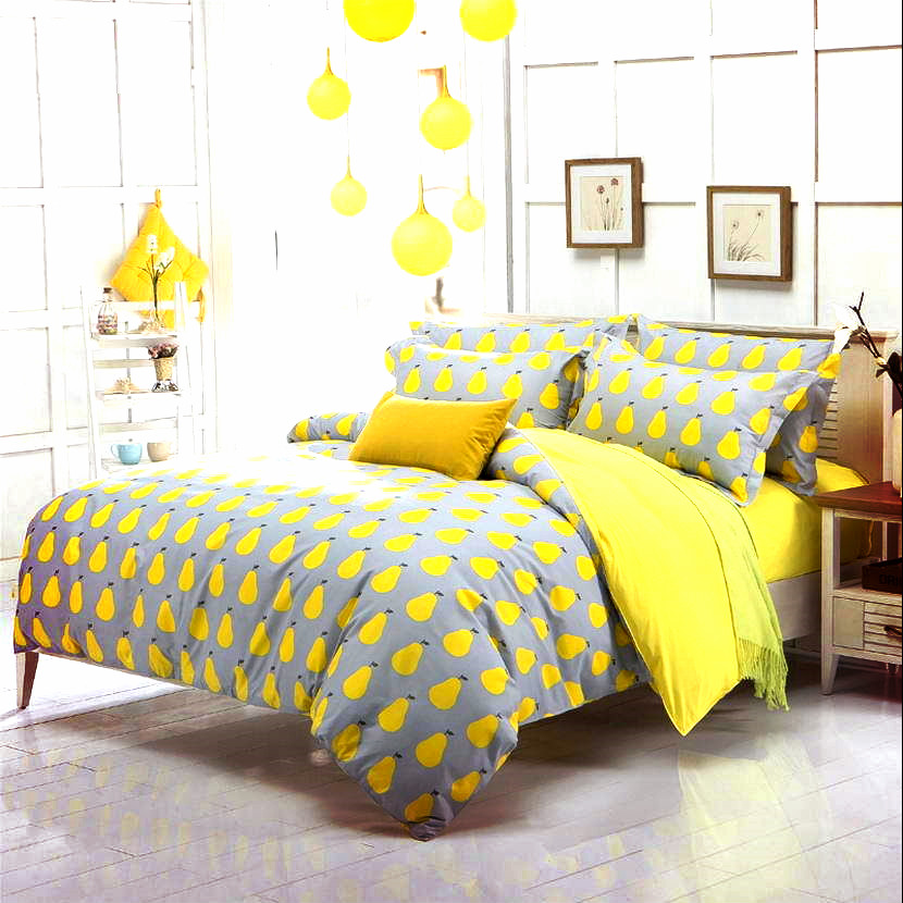 Yellow and Gray piar Bedding Set Duvet Cover mens boys