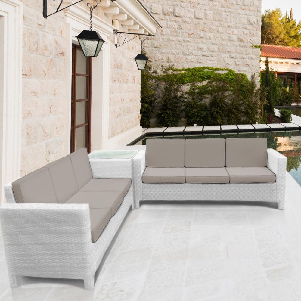 Rattan garden furniture set sofa outdoor conservatory for Sofa exterior jardin