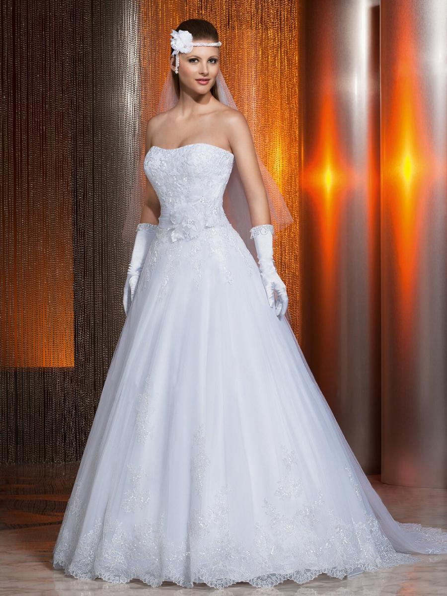 Custom Made Strapless Lace Appliqued Open Back Wedding ...