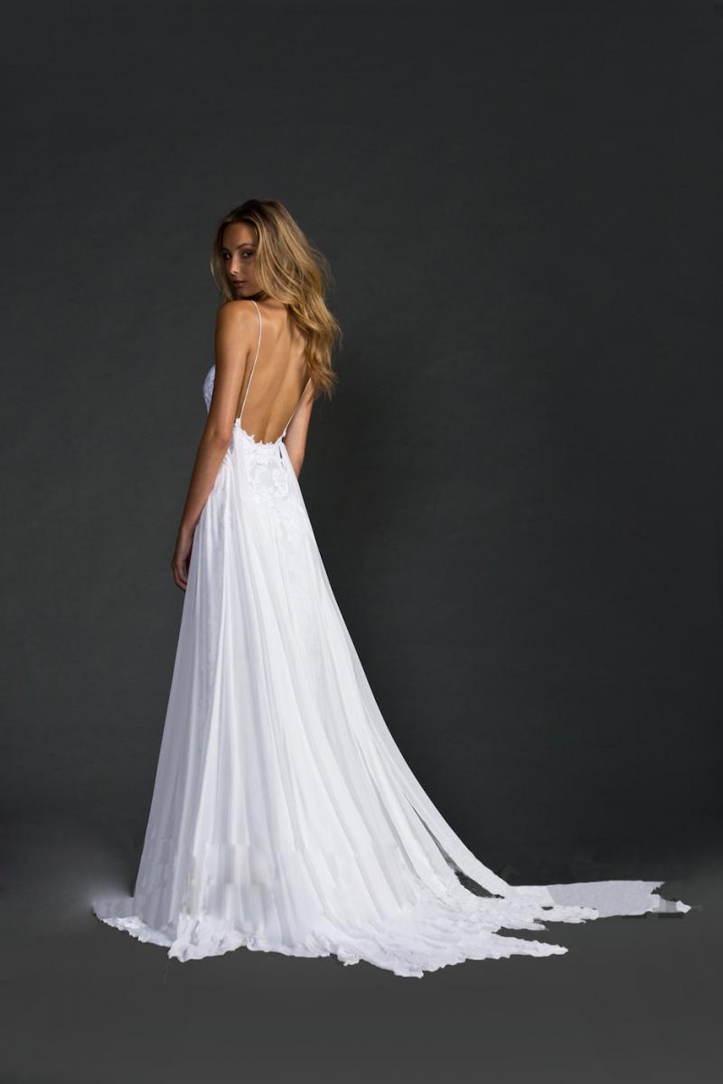 Custom made low back elegant lace beach wedding dress ebay for Beach wedding dress low back