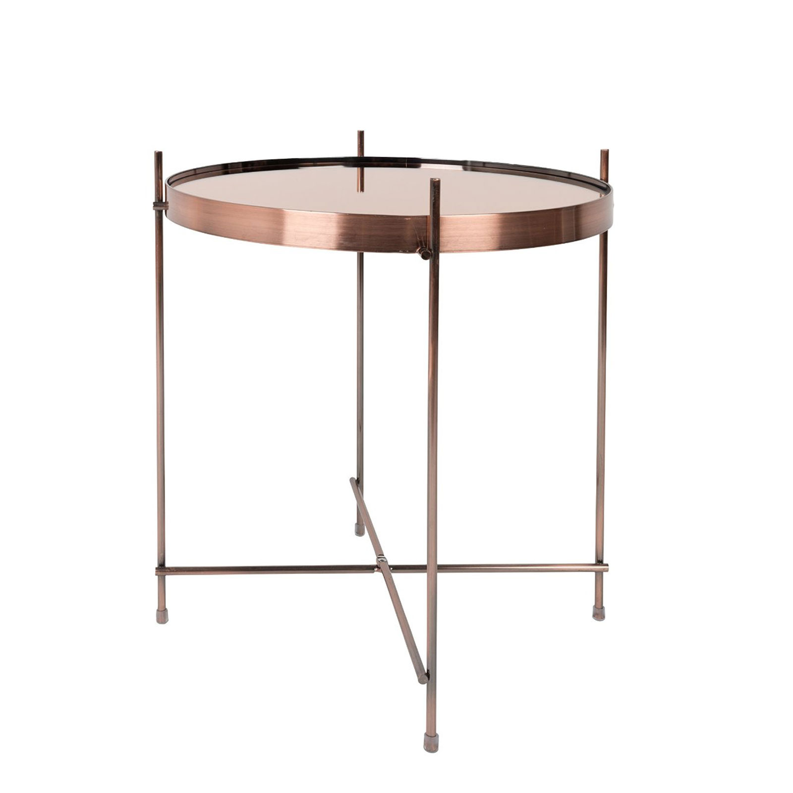 Industrial Unique Metal Designer Coffee Table: Copper Metal Glass Side Table Modern Designer Coffee End