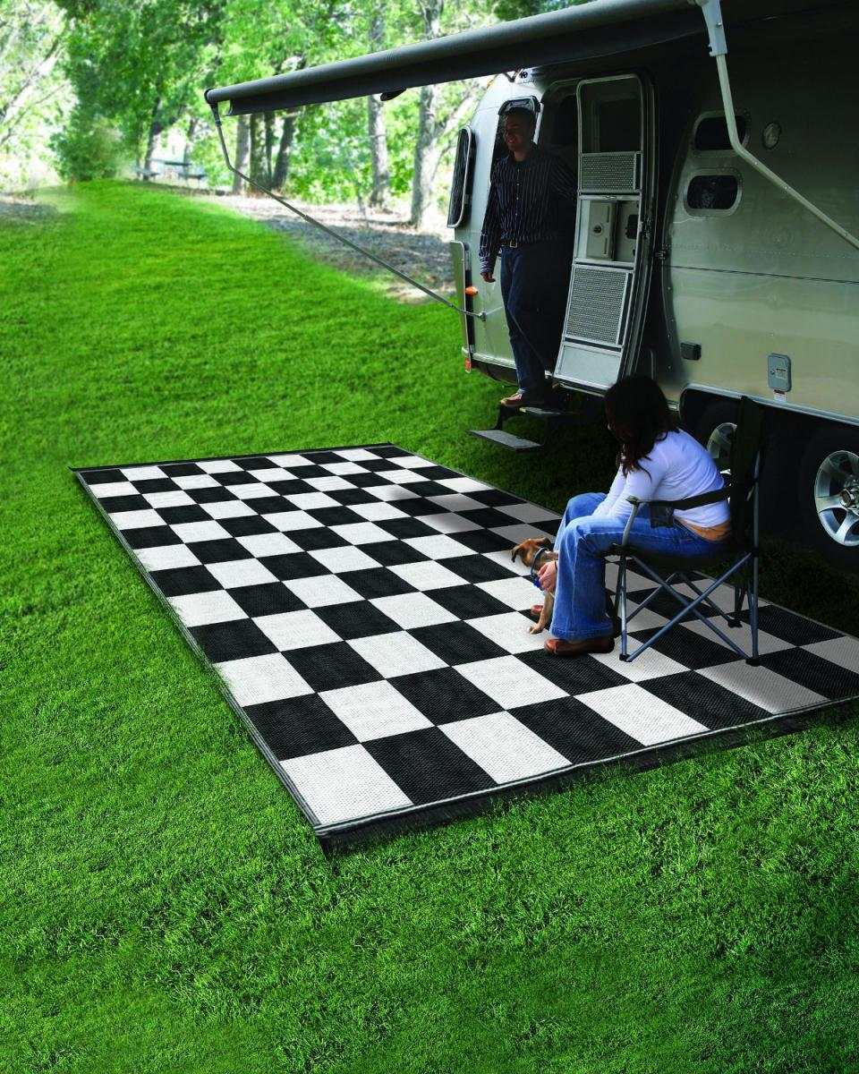 Categories - Reversible Outdoor Mat RV 6 X 9 Camping Trailer Patio Black White