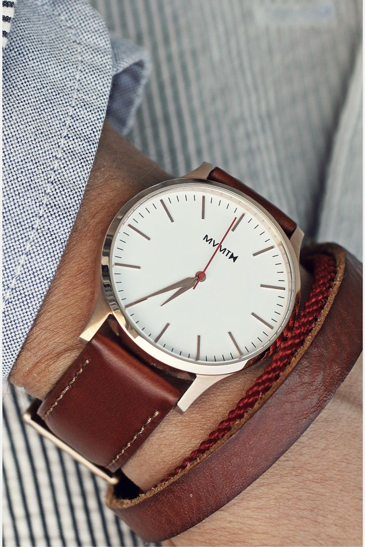 Mvmt watches 40 series rose gold natural leather brown strap men 39 s watch sale for Mvmt watches