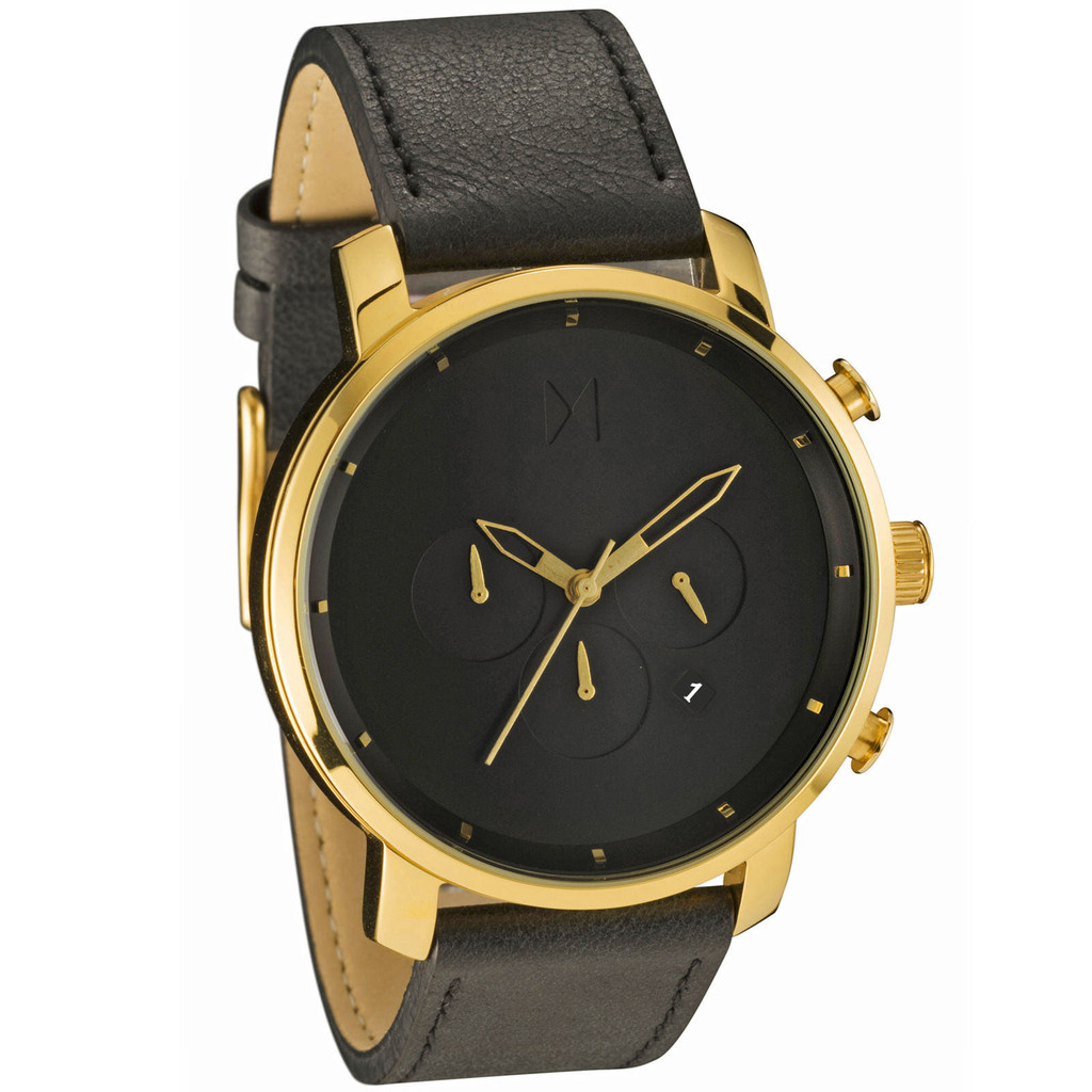 Mvmt watches chrono gold black leather men 39 s watch chronograph man original mvmt ebay for Mvmt watches