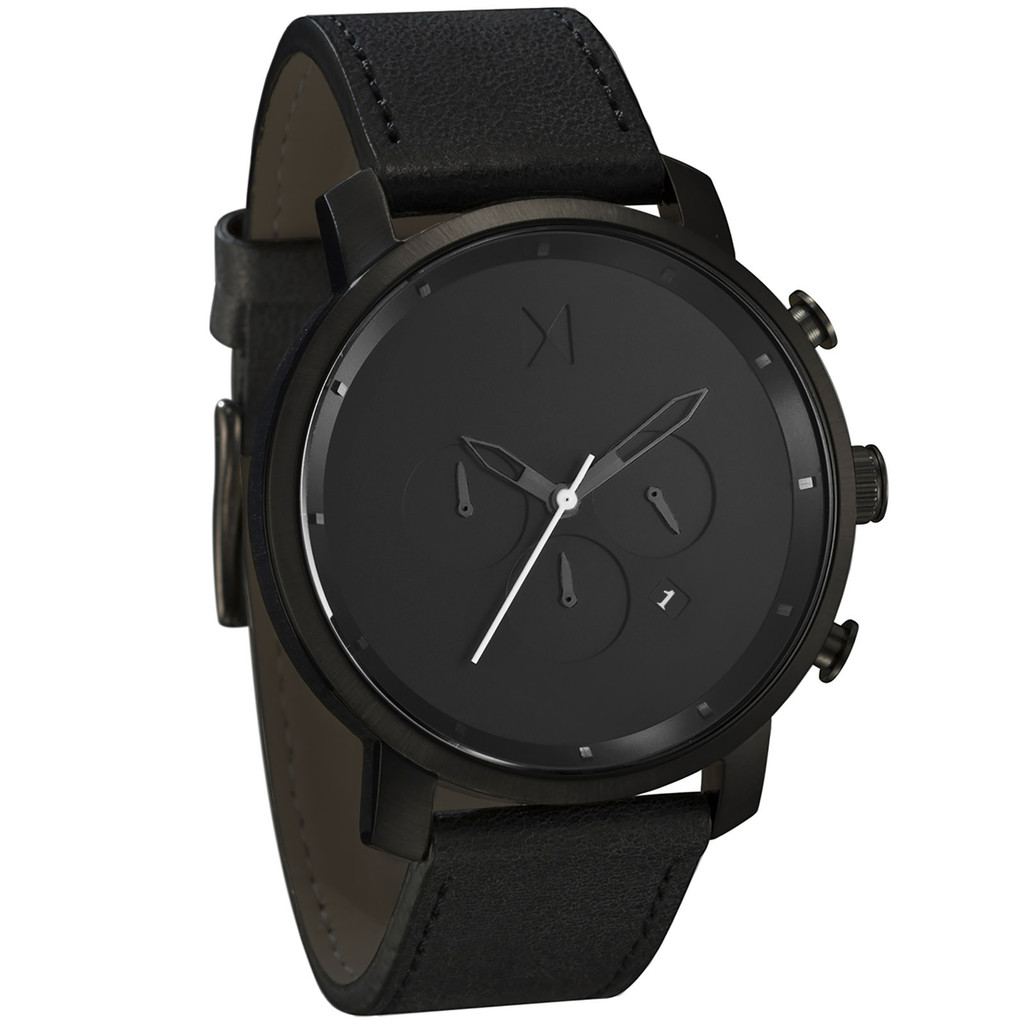 Mvmt watches chrono all black leather strap men 39 s watch man chronograph ebay for Leather strap watches