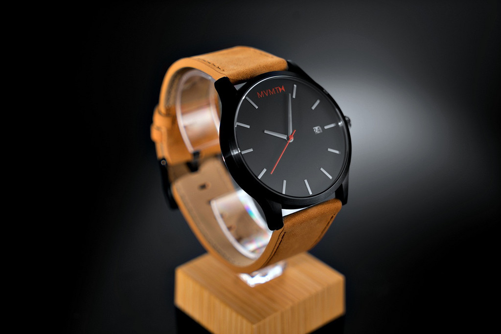 Original mvmt watches black face with tan leather strap men 39 s classic watch ebay for Mvmt watches