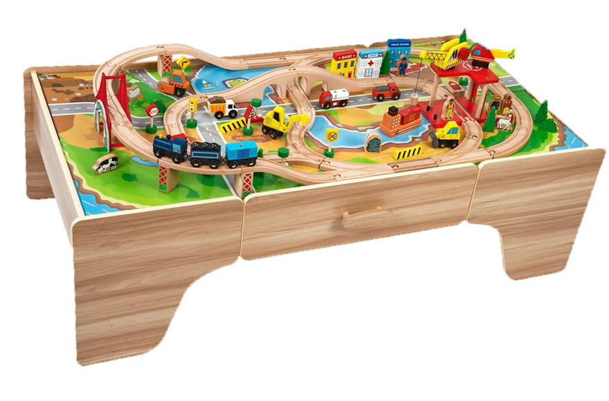 Wooden train table 100 pcs train track set bridges tunnel for 100 piece cityscape train set and wooden activity table