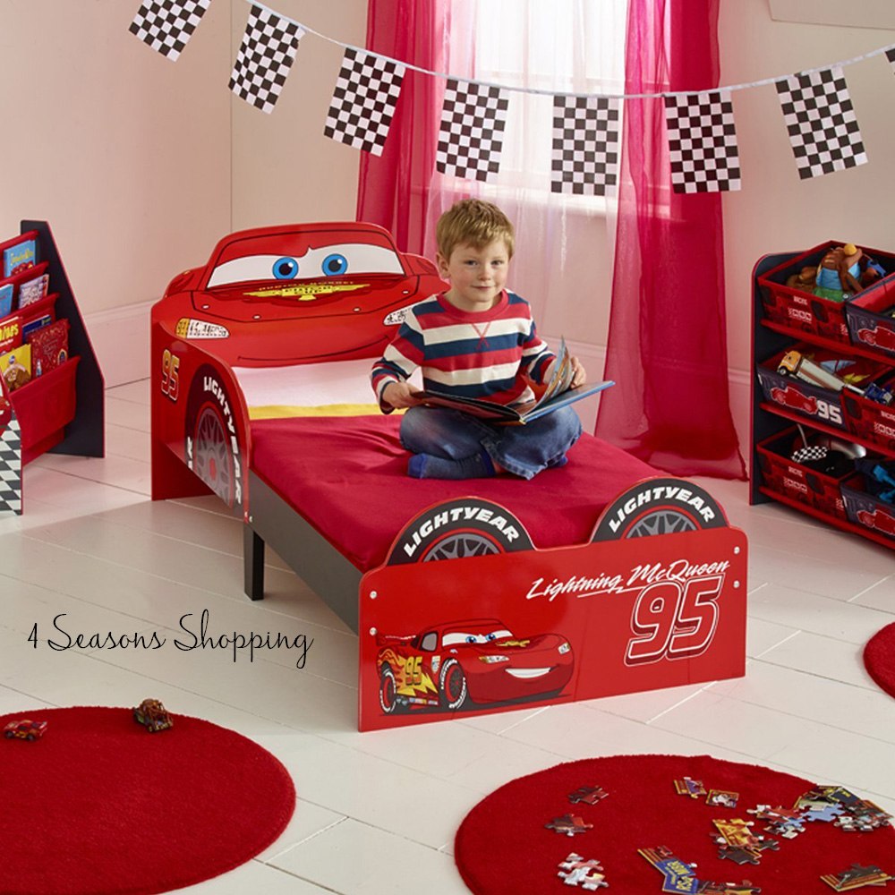 Disney Cars Lightning McQueen Toddler Wooden Bed Boys Children Bedroom Furnit