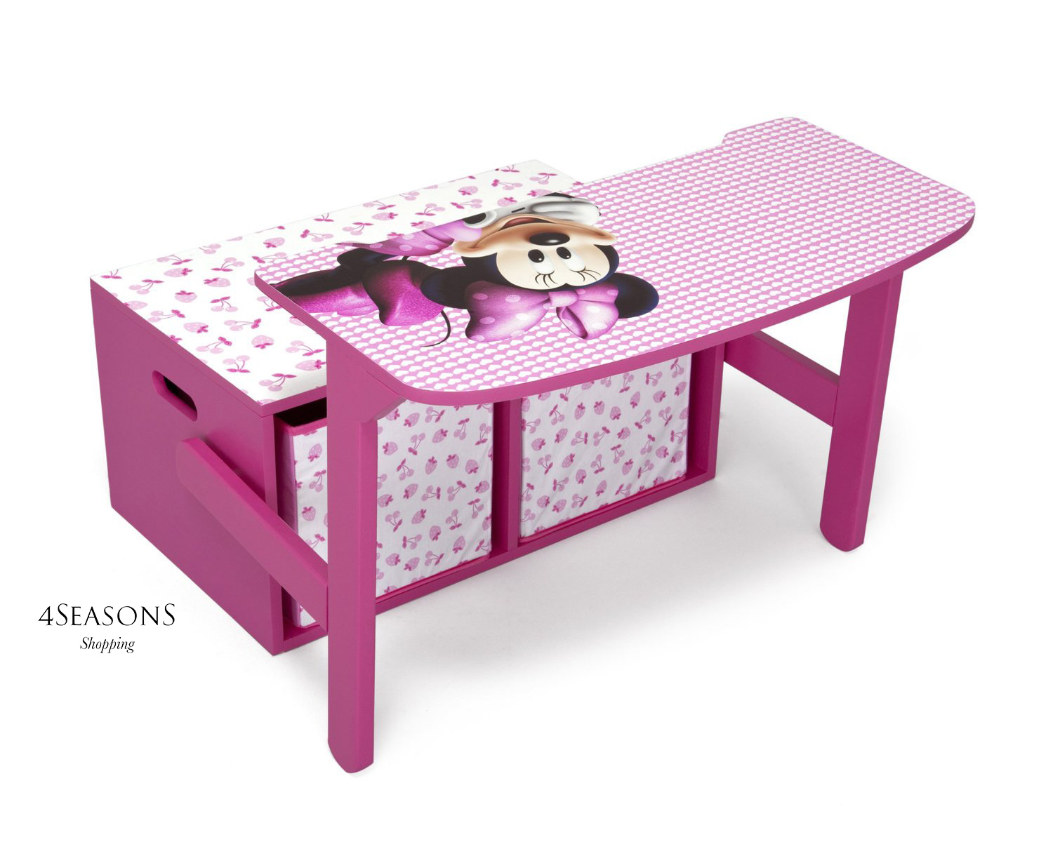 Fold Away Furniture Minnie Mouse Storage Box Desk Wooden Toy Chest Girls Kids
