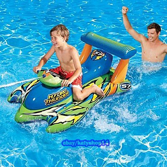 Motorized Thunder Boat Pool Rider Water Blaster Kids Fun