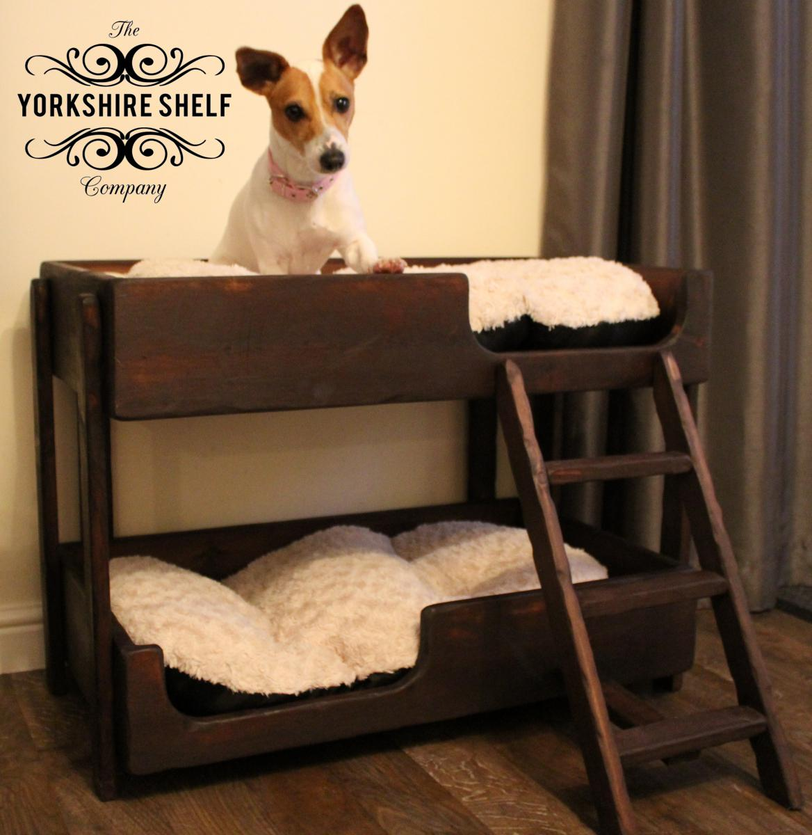 Gorgeous rustic handmade pet bunk beds dog or cat ebay for Pet bunk bed gallery