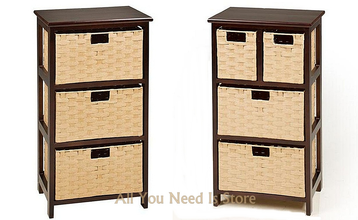 Wood Storage Unit W 3 4 Wicker Baskets Bedroom Bathroom Organizer Furniture
