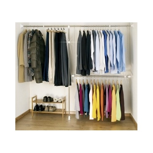 extendable hanging rod system walk in wardrobe closet organiser storage clothes ebay. Black Bedroom Furniture Sets. Home Design Ideas